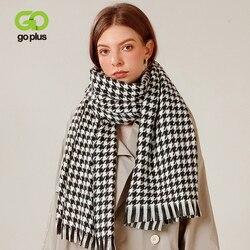 Goplus cachecóis femininos inverno vintage macio quente casal preto branco xadrez cachecóis mulher 2020 bufandas invierno mujer