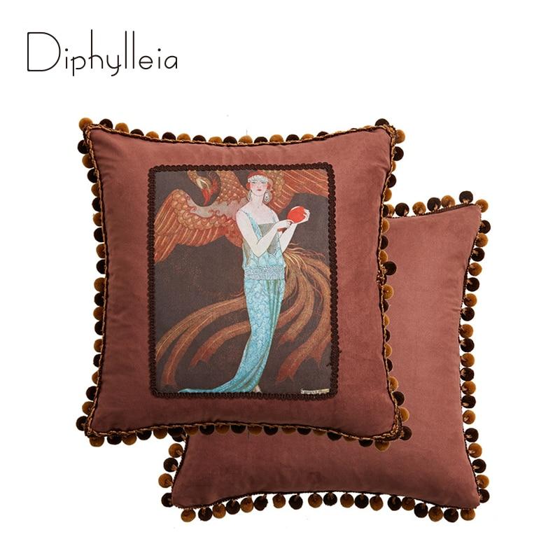 Diphylleia خمر غطاء الوسادة حلم عدن إلهام تصميم أصيلة الفاخرة الرجعية رمي كيس وسادة 45x45 سنتيمتر شحن مجاني