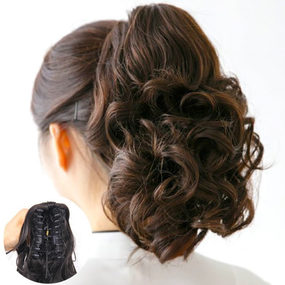 Pinza de pelo sintético ondulado Cola de Caballo pequeño pelo falso pinza de cola de Pony accesorios de pelo para mujer