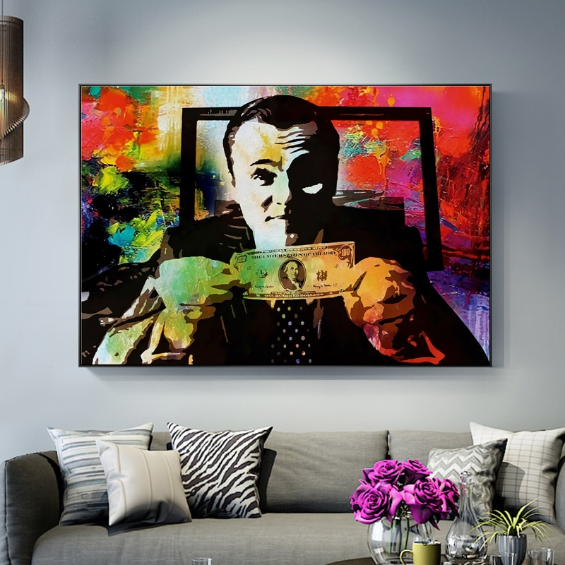 Graffiti Art Canvas Painting Wolf of Wall Street Money Talks Banksy Posters and Prints Pictures for Living Room Decor