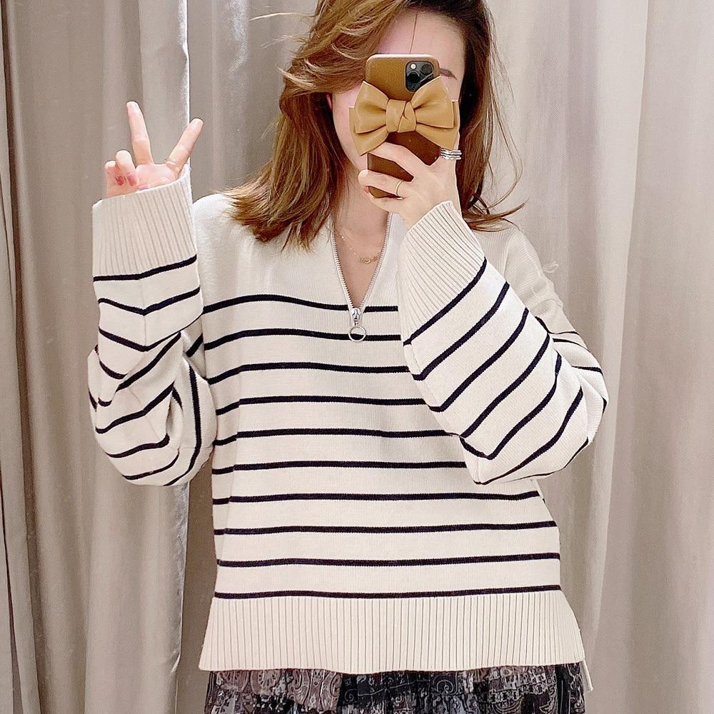New striped long sleeve Mock Neck loose knit sweater enlarge