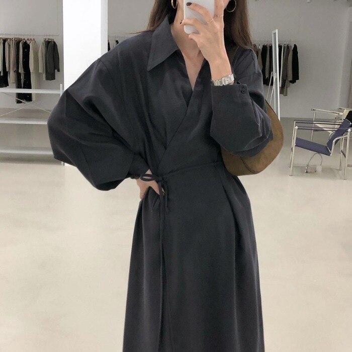 Korean Ins Simple Elegance Retro Peter Pan Collar High Waist Lace-up Slimming Lazy Lantern Sleeve ov