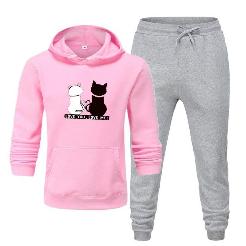 2021 зимняя брендовая спортивная одежда с принтом кошки, модная женская спортивная одежда для альпинизма, спортивный костюм из двух предмето...
