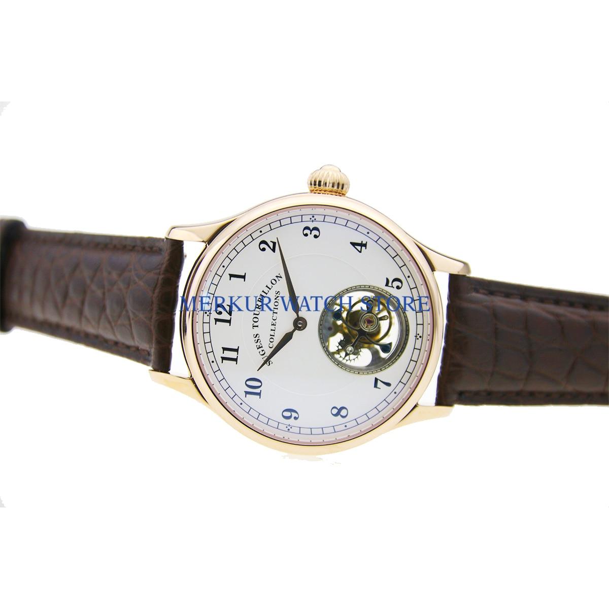 Sugess-ساعة ميكانيكية للرجال ، مطلية بالذهب ، مينا أبيض ، حركة توربيون ، هيكل عظمي ، مينا
