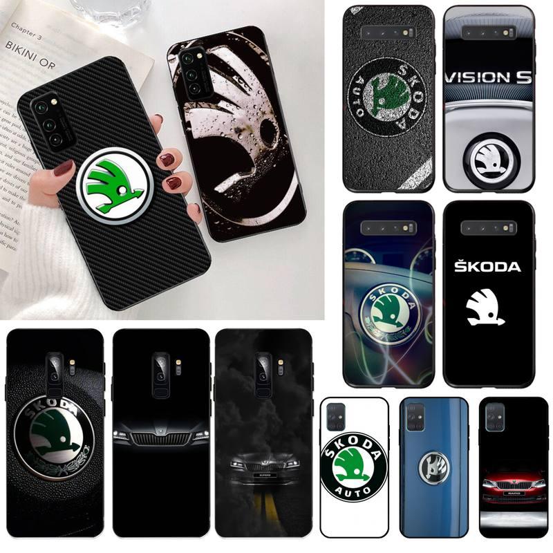 Kpusagrt moda skoda coque escudo do logotipo do carro caso de telefone para samsung s20 plus ultra s6 s7 borda s8 s9 mais s10 5g lite 2020