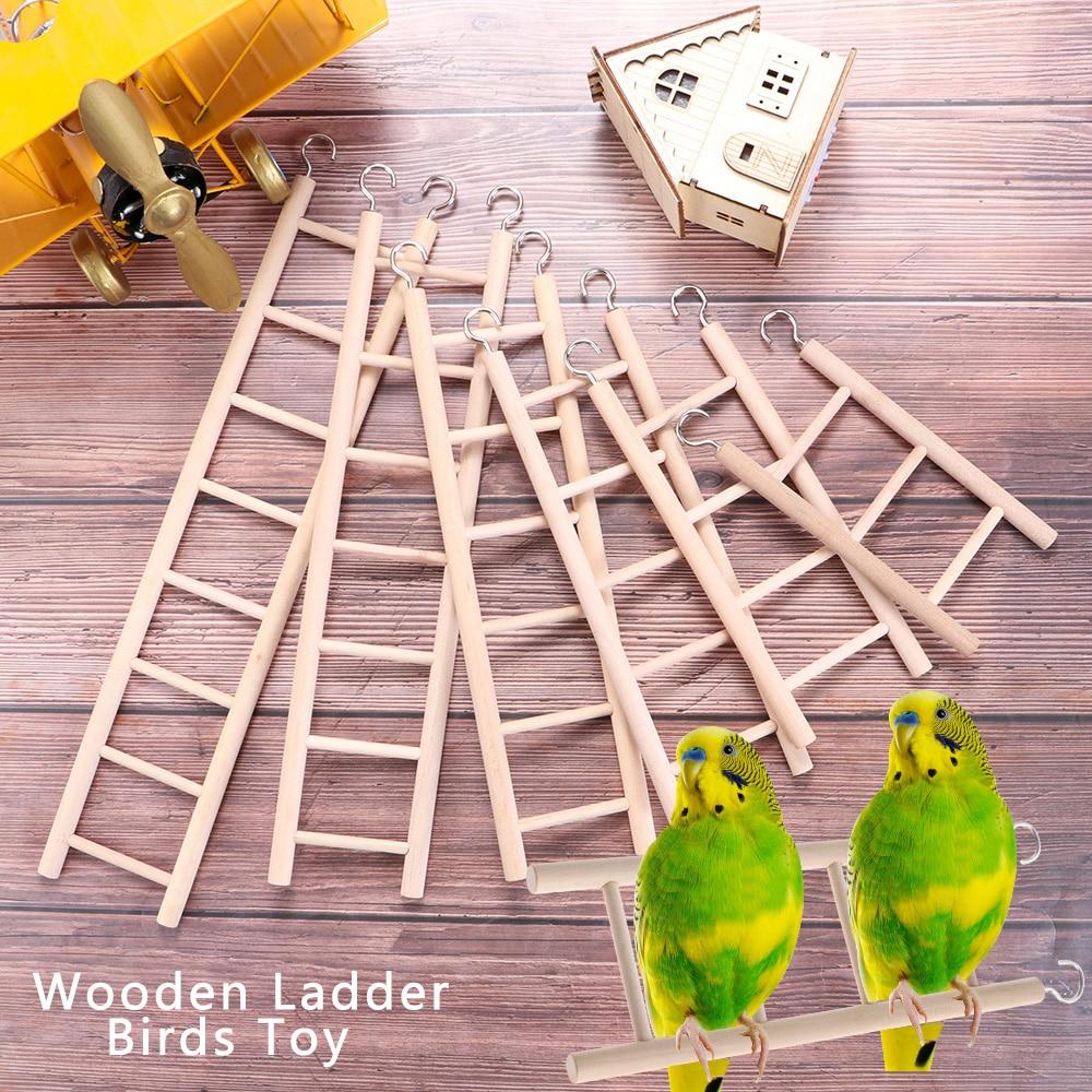 Birds Toy Wooden Ladders Swing Scratcher Perch Climbing 3/4/5/6/7/8 Ladder Bird Cage Hamsters Parrot
