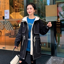 Fashion Womens Hooded Trench Coat 2021 Autumn Winter Pocket Long Sleeve Zipper Casual Simplicity Lon