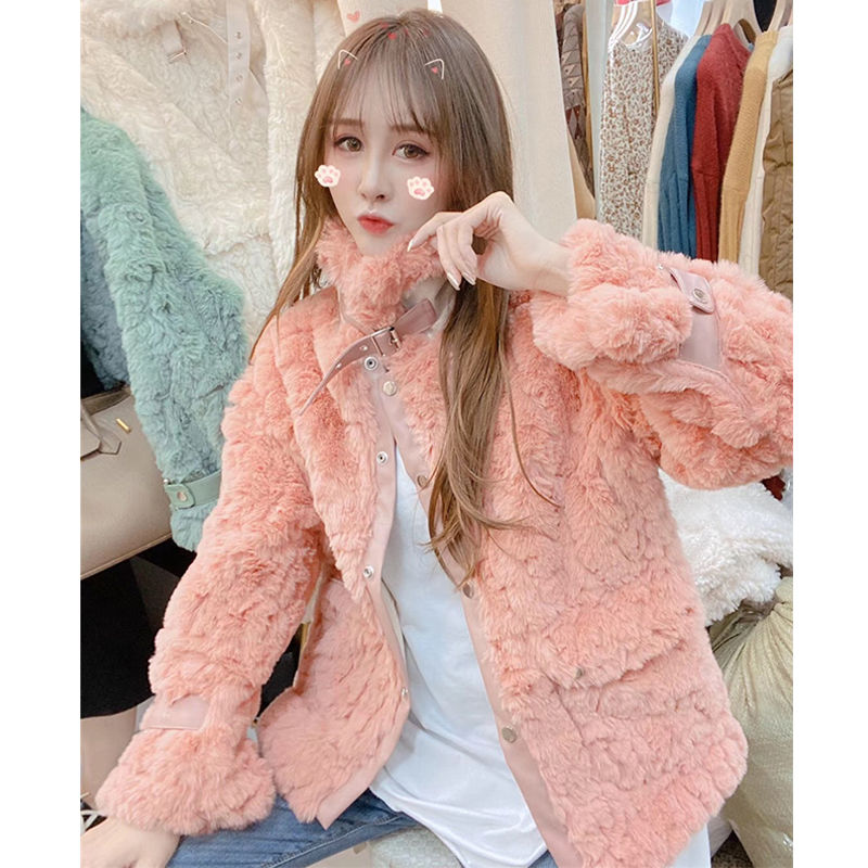 Leather and Fur in One Fur Coat Women's Korean-Style Loose Student Autumn and Winter Women's 2020 New Fashion Winter Short Style enlarge