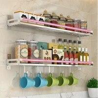 wall mount storage spice shelf hanging hook utensil holder kitchen spice bottle jar rack bathroom organizer stainless steel