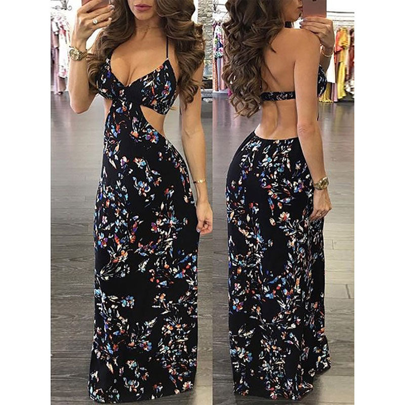 Summer Women Boho Style Long Maxi Dresses Ladies Printing Floral Sleeveless Black Halter Vintage Beach Sundress Vestidos