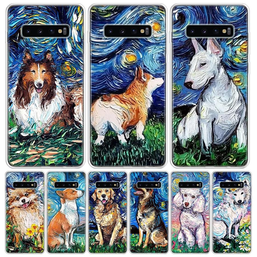 Van gogh arte cão pintura a óleo caso telefone para samsung galaxy s10 s20 ultra nota 10 9 8 s9 s8 plus pro lite s7 s6 j4 j6 + especial