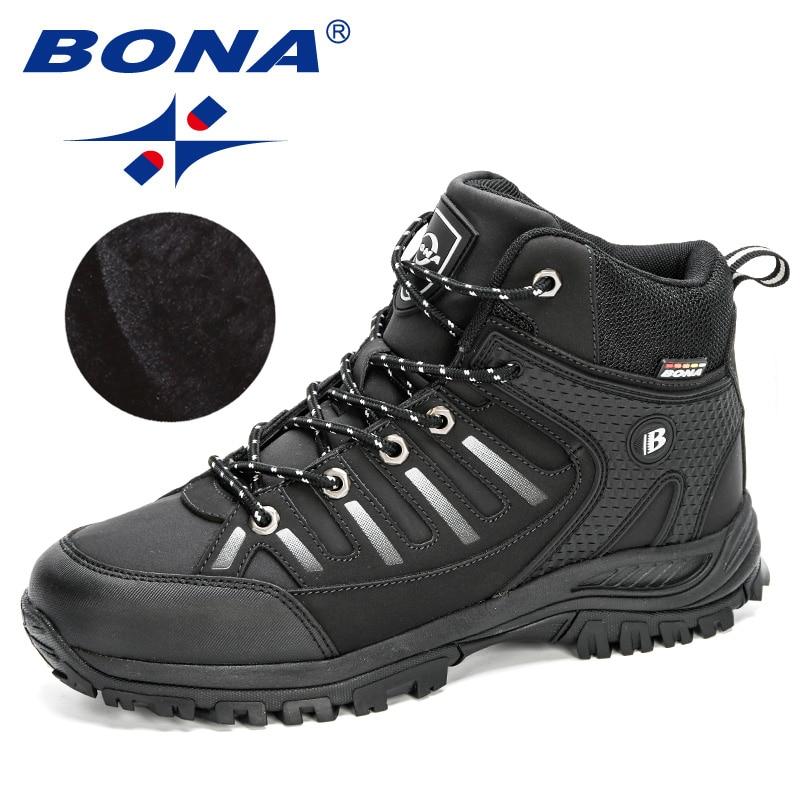 Bona 2020 nova chegada ação couro caminhadas sapatos homens ao ar livre turismo sapatos de escalada homem inverno neve pelúcia quente tornozelo botas masculino