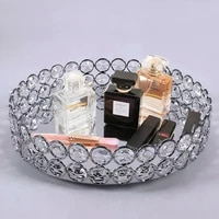 1pc silver nordic mirror crystal style storage baskets box simplicity style home organizer for jewelry necklace dessert plate
