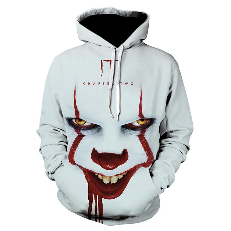 Movie IT Clown 3D Print Oversized Hooded Sweatshirts Men Women clothes Fashion Casual Funny Joker Pullover Tracksuit Sweatshirt