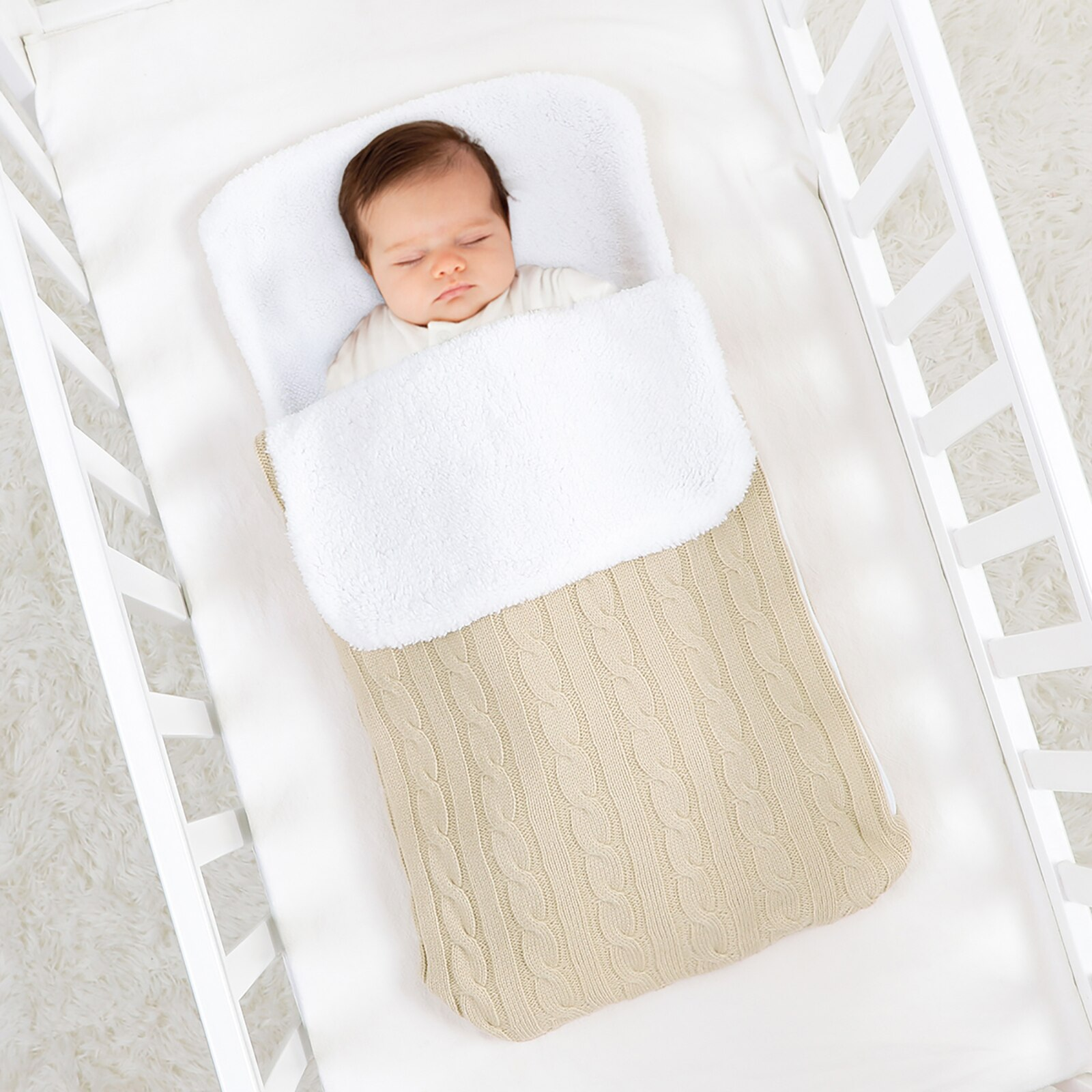 Baby Sleeping Bag Ultra-Soft Fluffy Fleece Newborn Receiving Blanket Infant Boys Girls Clothes Sleeping Nursery Wrap Swaddle