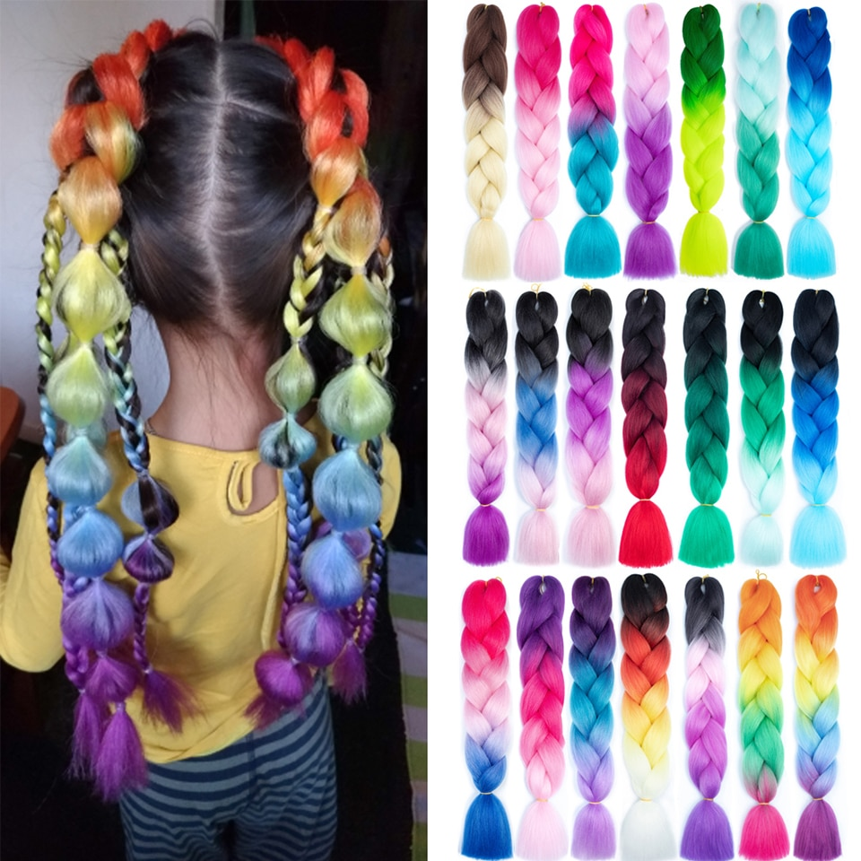 Pre Stretched Blonde Pink Jumbo Braids Wholesale Kanekalon Hair Sylhair Ombre Braiding Hair Extensions Synthetic Jumbo
