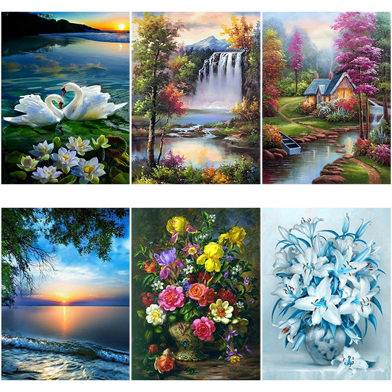 DIY 5D Diamond Painting Flower Full Round Drill Mosaic Diamond Embroidery Landscape Waterfall Cross Stitch Wall Art Home Decor