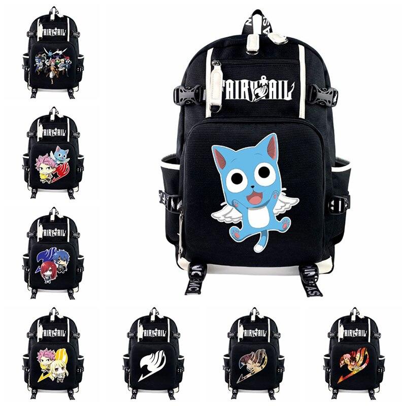 Bolsa do Portátil para Mulheres dos Homens Bagpacks de Viagem Anime Fairy Tail Natsu Feliz Mochila Teenages Casual Bookbag Adolescentes