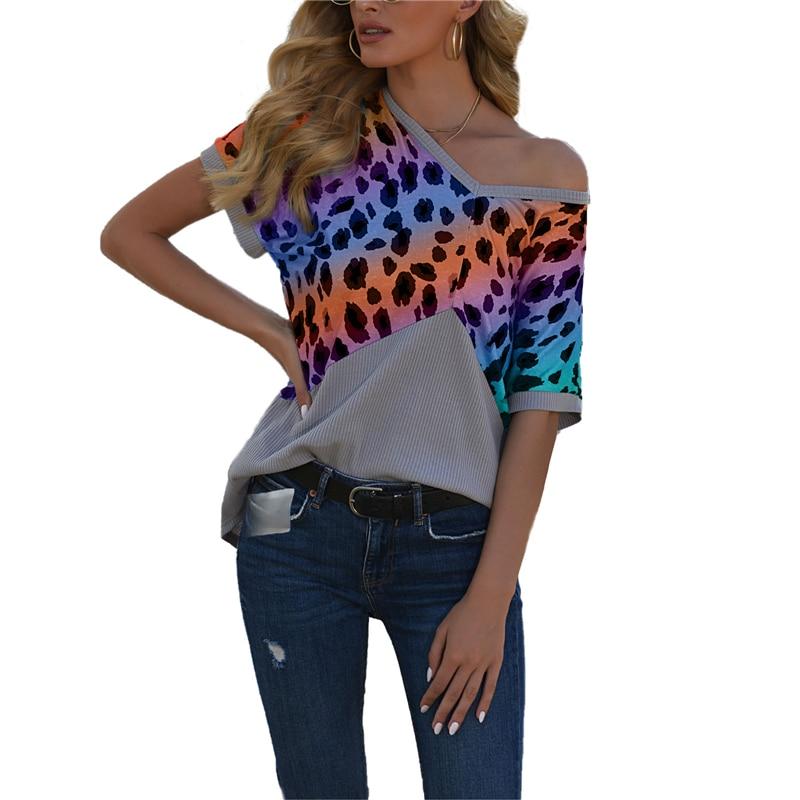 Женские рубашки с V-образным вырезом, повседневные цветные ажурные футболки с коротким рукавом и леопардовым принтом, женские блузки и топы,...