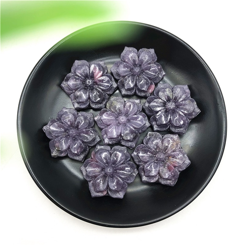 1pc natural lepidolite bauhinia em forma de cristal flor pedras esculpidas à mão cristal cura decoração pedras naturais e minerais