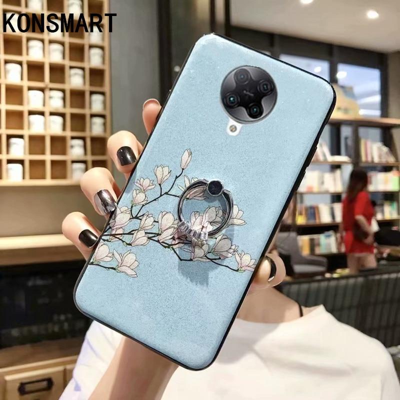"KONSMART For Xiaomi POCO F2 Pro Case Glitter Flower Luxury Silicon Soft Phone Case POCO F2 Pro 6.67"" Back Cover With Finger Ring"