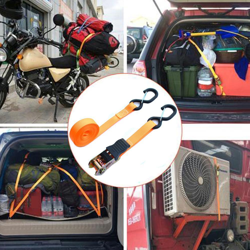 2 PCS Ratchet Tie Down Belt Cargo Straps for Car Motorcycle Bike 8-shaped Hook Brake Strap Strong Ratchet Belt for Luggage Bag