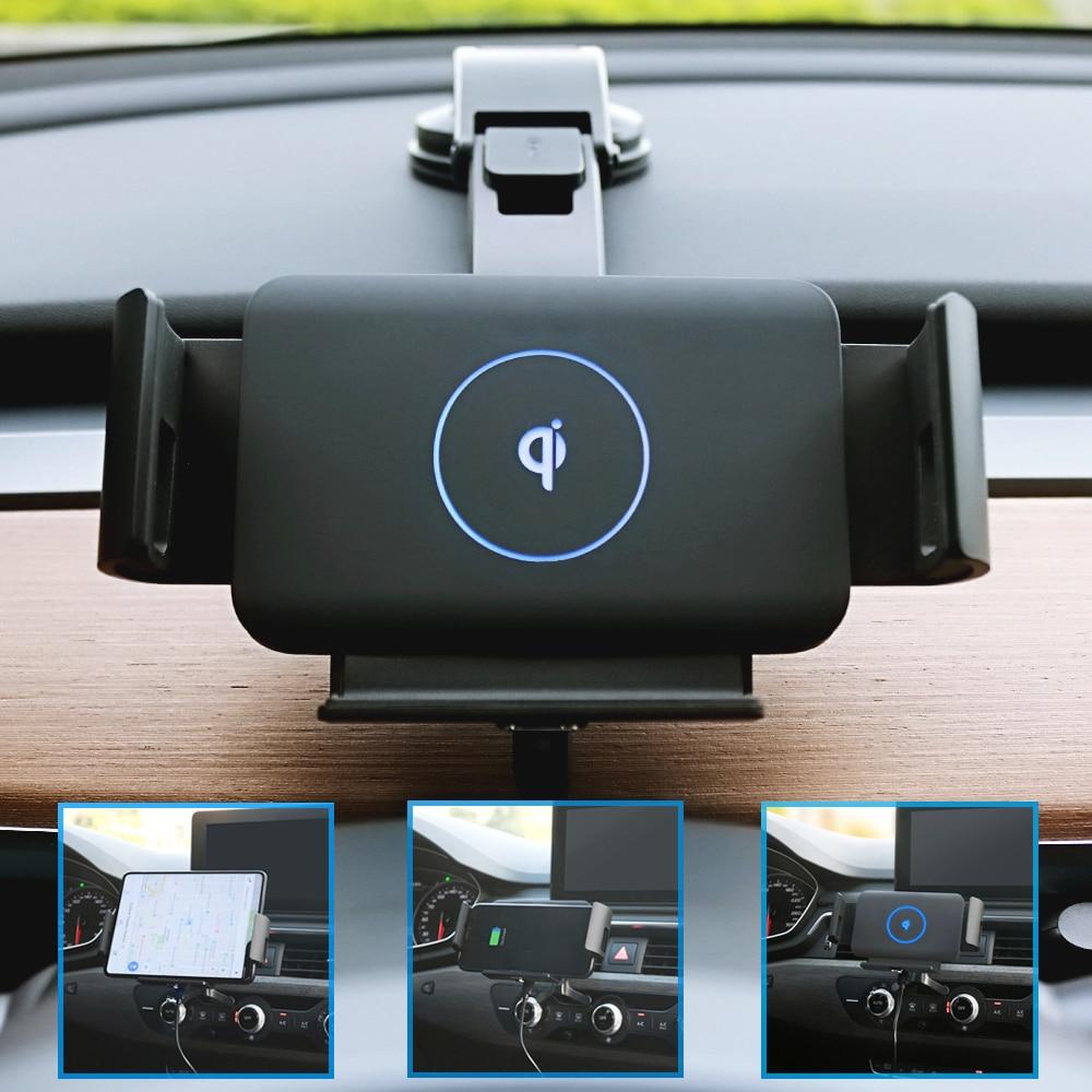 التلقائي المشبك الأفقي الملاحة قوس سيارة شاحن لاسلكي لسامسونج غالاكسي أضعاف Z Fold2 نوت 9 S20 5G Note10 S10 S9 S8 Note8 iPhone 12 XR 12Pro XS Max 11 Pro X XIAOMI HUAWEI الترا آيفو...