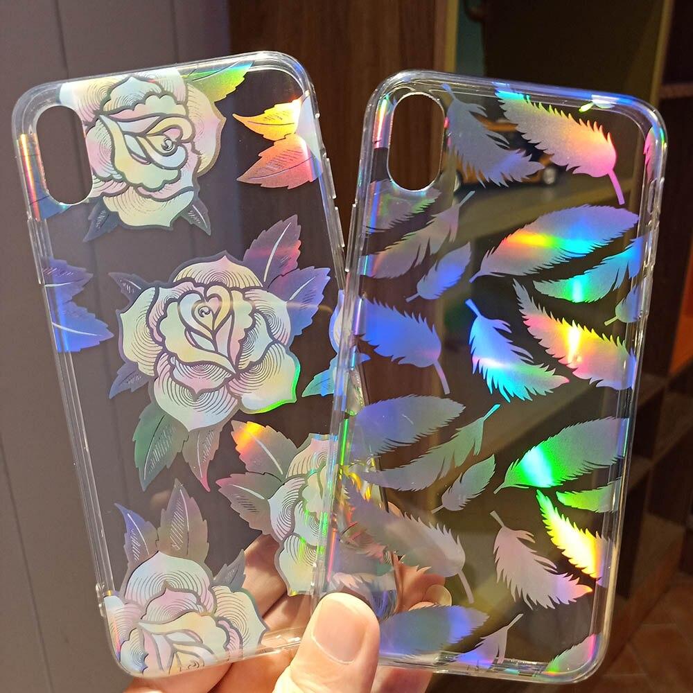 Lujo chapado gradiente láser flores caso para Samsung A10 A20 A30 A50 A51 A70 A71 claro Capa para Nota 10 Pro estuche holográfico
