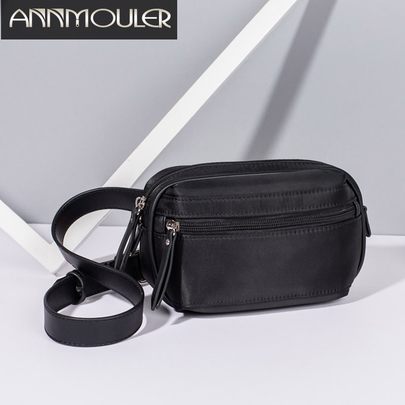 Annmouler, riñoneras de moda para mujer, riñonera de nailon de alta calidad, bolsa negra para el pecho con cremallera para chica, bolsa para teléfono, correa ajustable
