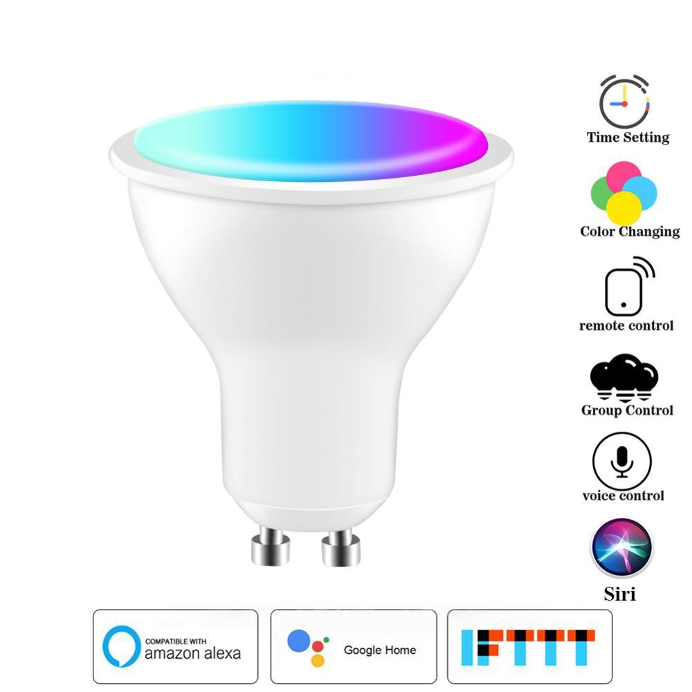 wifi inteligente lampadas led rgbw 6w lampadas led gu10 gu53 e27 app controle remoto