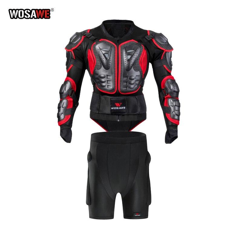 WOSAWE chaqueta de armadura de motocicleta para hombre, armadura de carrocería de motocicleta completa, Armadura de carreras de Motocross y pantalones cortos, protector de cadera, equipo de protección
