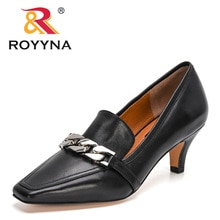 ROYYNA 2021 New Designers Genuine Leather Autumn Women's Shoes Pumps Slip-On Solid Round Toe Fashion