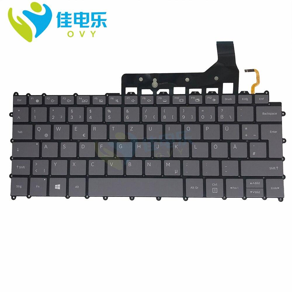 لوحة مفاتيح بديلة بإضاءة خلفية رائعة ، لجهاز Samsung Galaxy book S NP767XCM ، لوحات مفاتيح بديلة باللون الرمادي ، تخطيط GE German ، إدخال كبير ، مسرع
