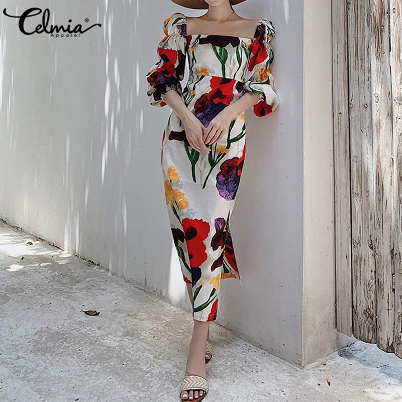 Vestido de verano de talla grande de Celmia, vestido coreano con flores, para mujer, manga abullonada elegante, manga larga, manga larga, vestido largo Sexy con cuello cuadrado