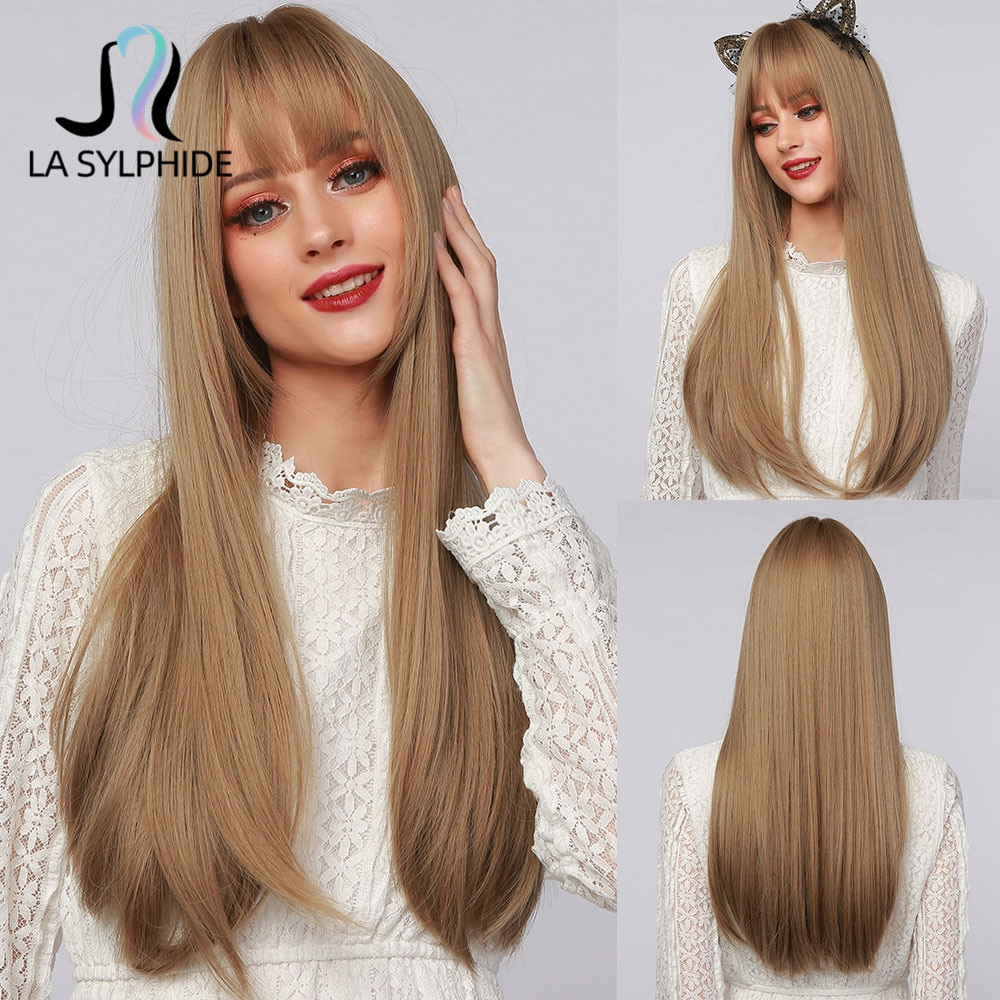 AliExpress - La Sylphide Synthetic Long Straight Wig Root Dark Brown Ombre Brown Hair Tip Dark with Bangs for Woman Wigs Cosplay Halloween