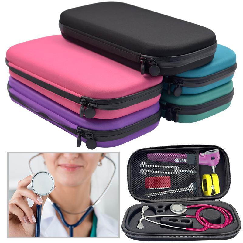 Caja de almacenamiento de estetoscopio portátil de carcasa dura de EVA, bolsa de Estuche De Viaje de transporte, pluma de disco duro, organizador médico