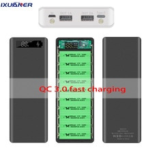 10*18650 Внешний аккумулятор с двумя USB портами, корпус аккумулятора Qc 3,0, быстрая зарядка 30000 мАч, внешний аккумулятор с разъемом микро Type C, комплект корпусов, зарядное устройство