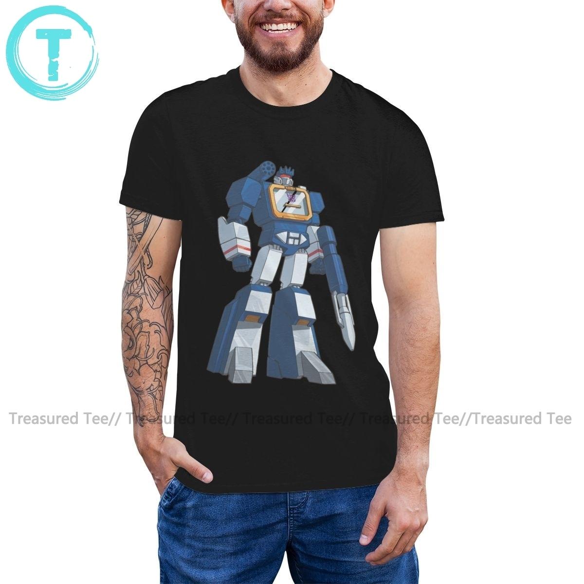 Camiseta Transformer Soundwave, Camiseta de algodón para hombre, camiseta estampada a la moda, divertida camiseta de gran tamaño