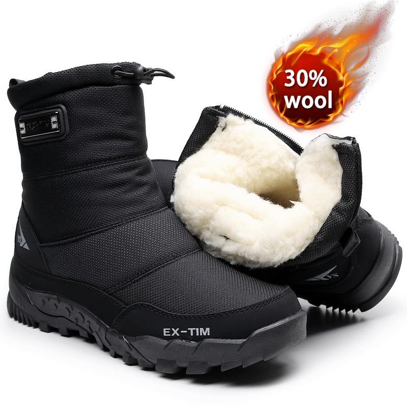 الثلوج أحذية الرجال حذاء للسير مسافات طويلة مقاوم للماء الشتاء الأحذية مع الفراء الشتاء الأحذية عدم الانزلاق في الهواء الطلق الرجال الأحذية...