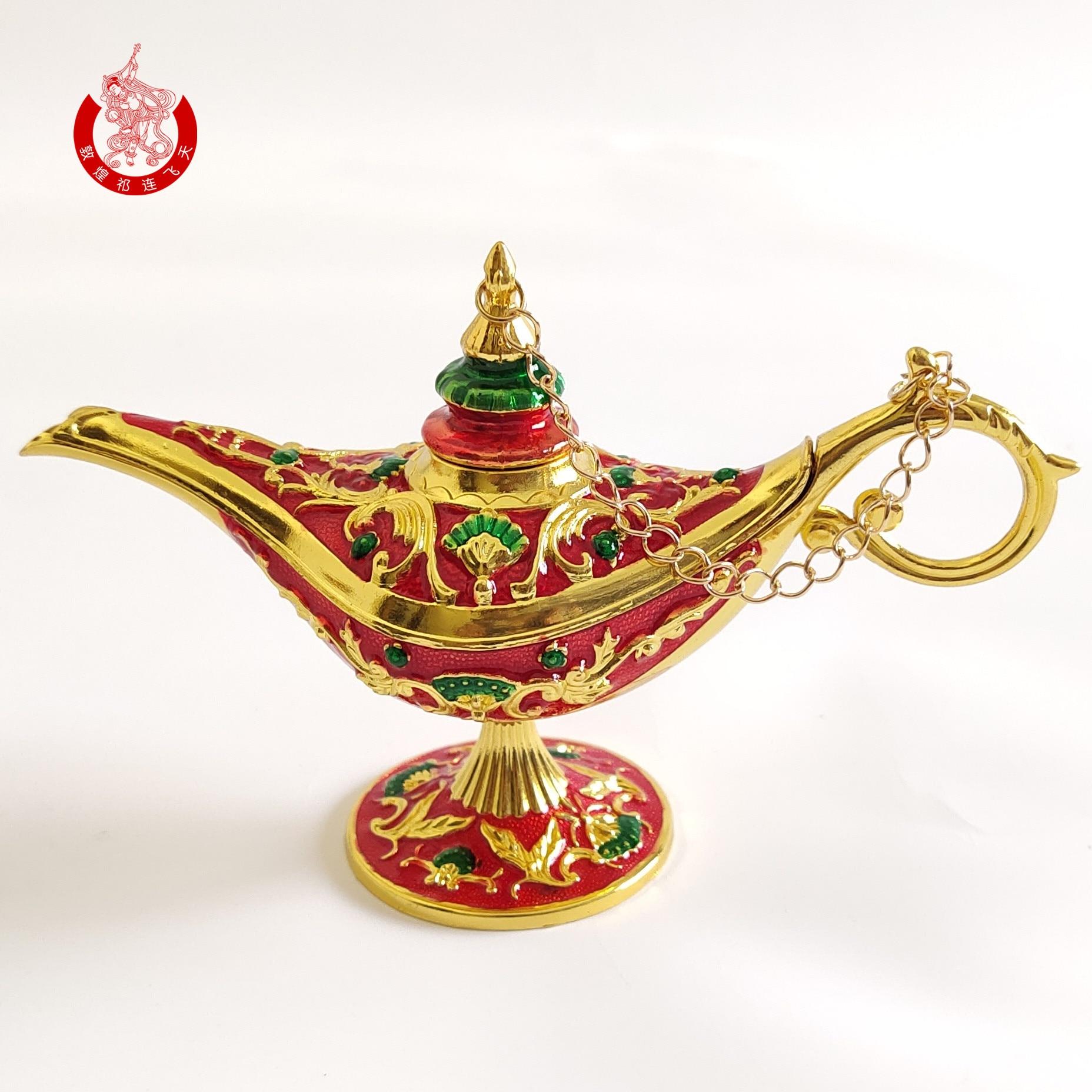 Pequeña decoración árabe, lámpara de lujo de Aladino, figuritas doradas, artesanías creativas, Decoración de mesa, Hogar, decoración, DA60B