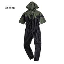 ZYYong Summer High Street Mens Short Sleeve Jumpsuit Streetwear Hip Hop Loose Hooded Casual Mens Overalls Joggers Mens Pants