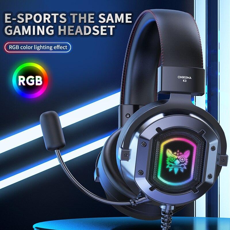 Fone de Ouvido Precisão com Microfone para Desktop Gaming Headset Estéreo Surround Som Comunicação Clara Alta Computador Portátil 1pcs k3