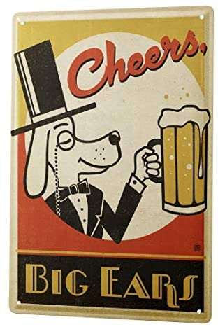 Bar Pub Decoration Retro Tin Sign Decoration Plaque Wall Decoration Board Cheering Dog Beer Glass Metal Wall Panel 8X12 Inch