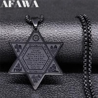 2021 hexagram jerusalem buildings stainless steel statement necklace for men black color necklace jewelry hombre n900s02