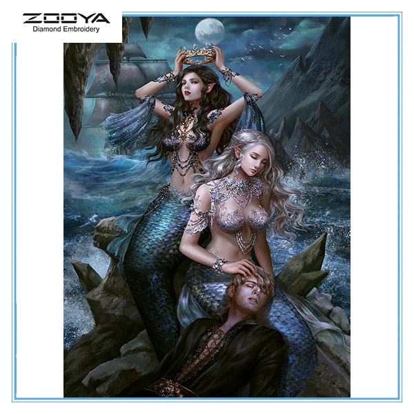Zooya 5D Diy Diamond Painting Sexy Mermaid New 3D Diamond Crystal Embroidery Cross Stitch Mosaic Wall Home Decor Art Gift  Lx342