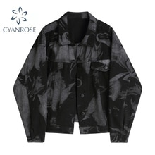 2021 Fashion Women's Vintage Streetwear Denim Jacket Tie-Dyed Gothic Punk Jean Coat Loose Casual Fem