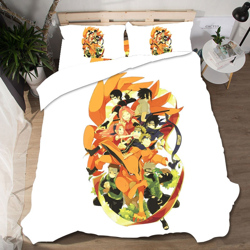 Naruto têxteis para casa roupa de cama ropa de cama presente de casamento sabanas 3d rei tamanho conjunto cama lencol cama casal gato popelina