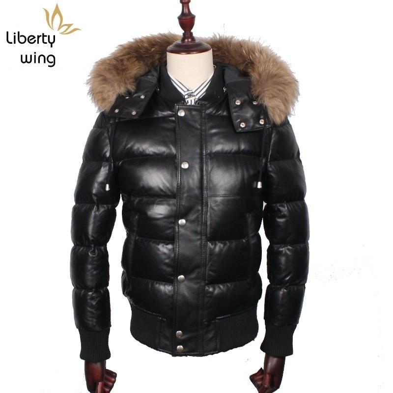 Luxury Winter Mens White Duck Down Padded Sheepskin Genuine Leather Bomber Jacket Raccoon Fur Collar Hoody Warm Coat