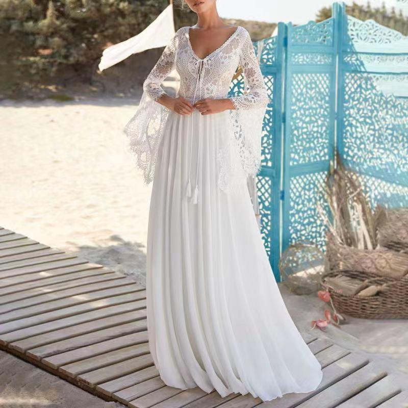 Promo 2021 Flare Sleeve Sweep Train Bohemian Lace Elegant Backless Chiffon Backless Beach Wedding Dress Bride Gown Vestidos De Novia