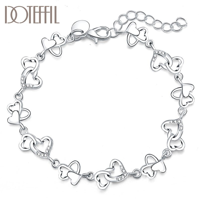 DOTEFFIL 925 Sterling Silver FULL Heart AAA Zircon For Women Wedding Engagement Party Fashion  Jewelry doteffil 925 sterling silver butterfly aaa zircon bracelet for women fashion wedding engagement party charm jewelry